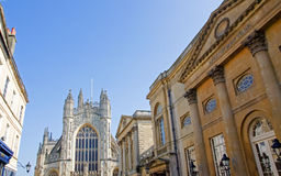 Bath Abbey and Pump Rooms Stock Photo