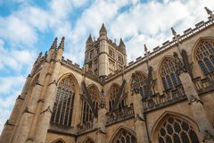 Bath Abbey in Bath, Somerset, UK. Abbey Church of St.Peter and St.Paul, commonly known as Bath Abbey. Anglican parish church and former Benedictine monastery in stock image