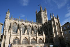 Bath Abbey, UK. Abbey Church of St. Peter & St. Paul known as Bath Abbey as seen from the side, Bath, Somerset, UK Stock Photos