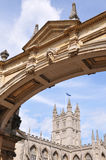 Bath Abbey under a Palladian Bridge Royalty Free Stock Photography