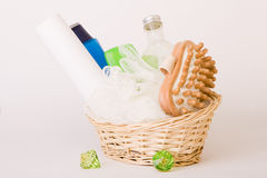 Bath Accessories. Bath items including sponge, salt and shapoo over white stock images