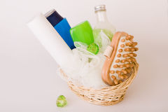 Bath Accessories. Bath items including sponge, salt and shapoo over white stock image
