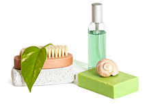 Bath accessories. Spa accessories with green leaf on a light background Stock Photo