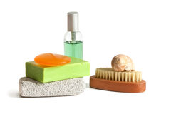 Bath accessories. Spa accessories isolated on a white background Royalty Free Stock Photo