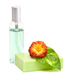 Bath accessories. Natural green soap and flower isolated on white background Stock Images