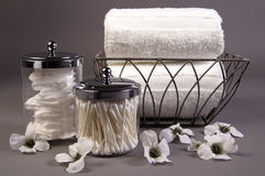 Bath accessories. A still life photo of bath accessories royalty free stock photography