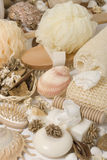 Bath accessories. Various items, soap, sponge and other Stock Photography