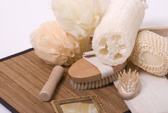 Bath accessories. Various items for bath and massage and mirror Stock Photo
