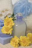 Bath accessories. Various items for bath soap sponge towel and flower Royalty Free Stock Image