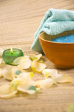 Bath accessories. Salt, towel, candles and flower petals - bath accessories stock photos