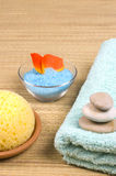Bath accessories. Sponge, stones, towel, flower petals and salt  - bath accessories Royalty Free Stock Photos