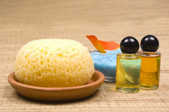Bath accessories. Shower gel, sponge, oil and bath salt - bath accessories stock photo