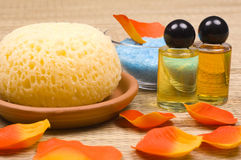Bath accessories. Sponges, flower petals, massage oils and salt - bath accessories stock image