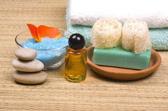 Bath accessories. Sponges, stones, soap, towels, flower petals and salt - bath accessories stock images