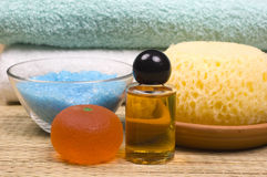 Bath accessories. Sponge, towels, shower gel, massage oil and bath salt - bath accessories stock image