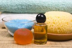 Bath accessories. Sponge, towels, shower gel, massage oil and bath salt  - bath accessories Stock Image