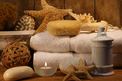 Bath accessories. Accessories for a relaxing bath royalty free stock photo
