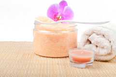Bath accessories on the bamboo top Stock Image