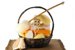 Bath accessories in the basket. Royalty Free Stock Image