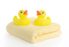 Bath accessories. Bath towels Royalty Free Stock Photo