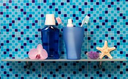 Bath accessories on blue Stock Photography