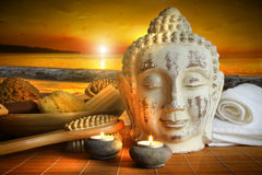 Bath accessories with buddha statue Royalty Free Stock Images