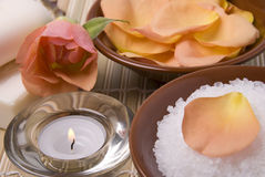 Bath accessories, candle and rose. Items for bath soap salt candle and rose Stock Photo