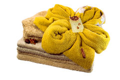 Bath accessories from the diffrent of towels and soap isolated o. Bath accessories from the diffrent of towels and soap overwhite background Royalty Free Stock Photos