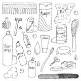 Bath accessories hand drawn doodle set Stock Photos