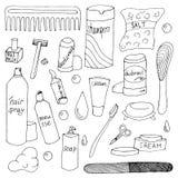 Bath accessories hand drawn doodle set Stock Photos