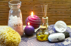 Bath accessories and lavender aromatherapy Royalty Free Stock Image