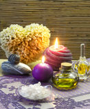 Bath accessories and lavender aromatherapy Stock Photography