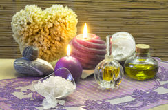 Bath accessories and lavender aromatherapy Stock Image