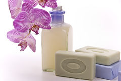 Bath accessories and orchid Stock Images