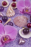 Bath accessories and orchid Royalty Free Stock Photos