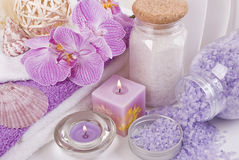 Bath accessories and orchid Royalty Free Stock Images