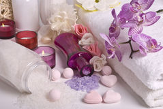 Bath accessories and orchid Stock Photography