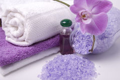 Bath accessories and orchid Royalty Free Stock Photography