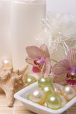 Bath accessories and orchid Stock Image