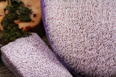 Bath accessories with pumice Royalty Free Stock Photography