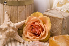 Bath accessories and rose. Various items for bath and beauty rose Royalty Free Stock Image