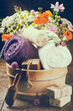 Bath accessories in rustic setting Stock Photos