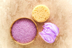Bath Accessories with Salts Crystals and Sponges Royalty Free Stock Images