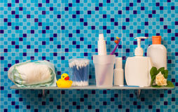 Bath accessories on shelf Royalty Free Stock Images