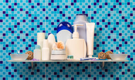 Bath accessories on shelf Stock Photography