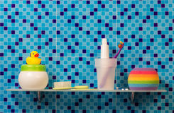 Bath accessories on shelf Stock Photos