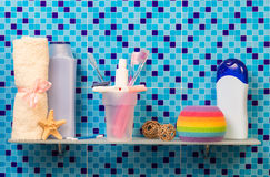 Bath accessories on shelf Stock Photos