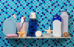 Bath accessories on shelf Royalty Free Stock Photography