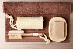Bath accessories, towel and soap Stock Photography