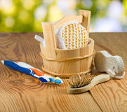 Bath accessories on wooden board close-up Royalty Free Stock Photography